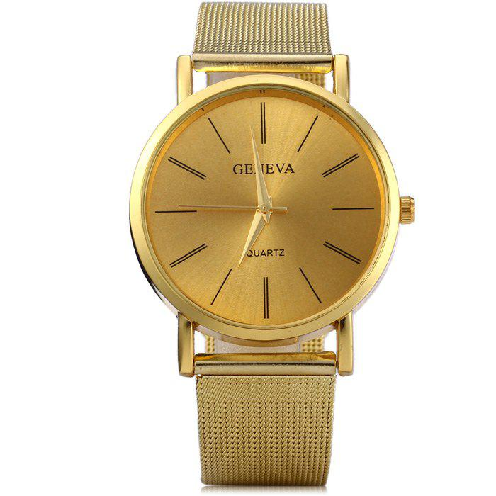 Geneva Male Quartz Watch with Round Dial Stainless Steel Band - GOLDEN