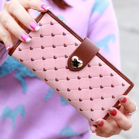 Sweet Checked and Hearts Design Wallet For Women - PINK