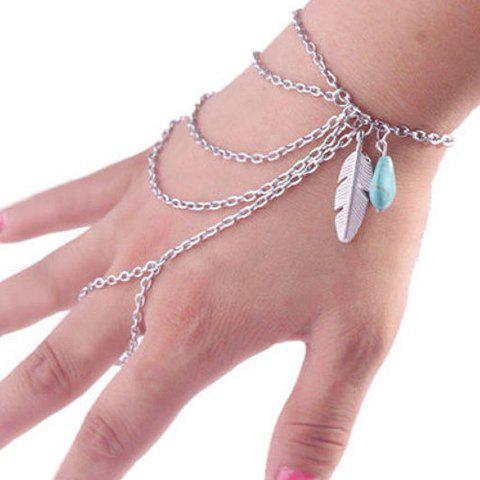 Feather Multiayered Faux Turquoise Bracelet - SILVER