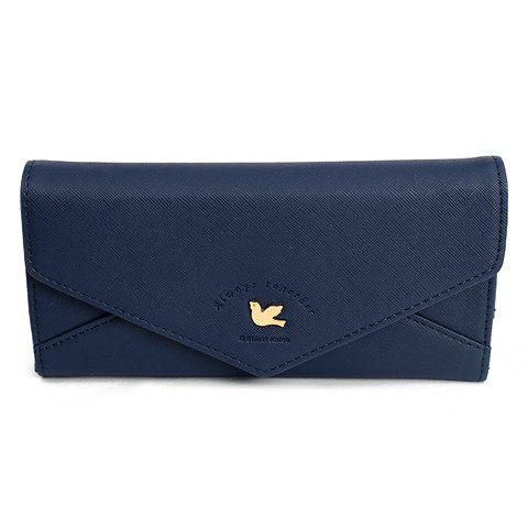 Elegant Solid Color and Metal Design Wallet For Women - DEEP BLUE
