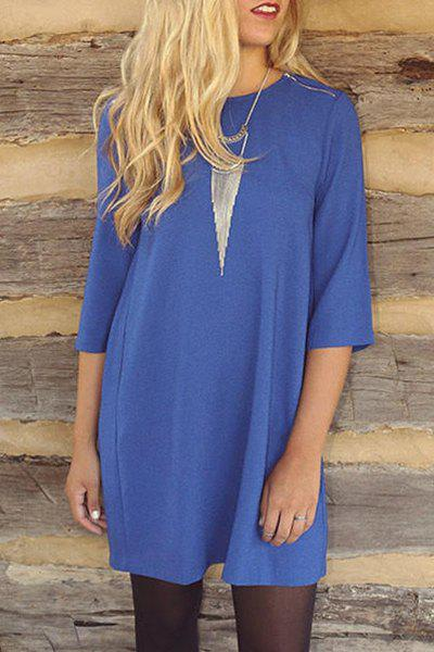 Brief 3/4 Sleeve Round Neck Pleated Solid Color Women's Dress - BLUE L