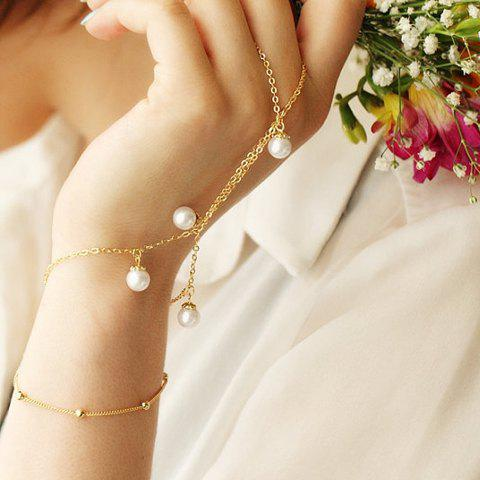 Link Chain Faux Pearl Bracelet with Ring - GOLDEN