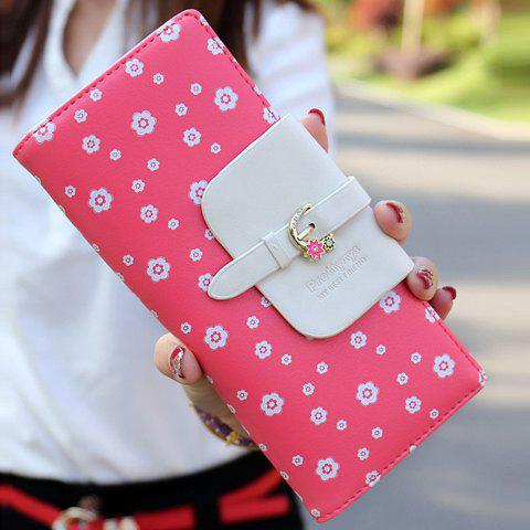 Sweet Floral Print and Buckle Design Wallet For Women