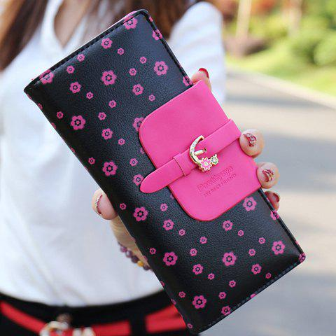 Sweet Floral Print and Buckle Design Wallet For Women - BLACK