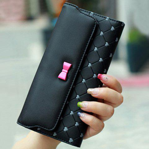 Sweet Checked and Bow Design Wallet For Women - BLACK