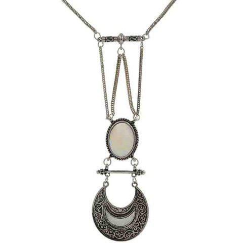 Faux Gem Moon Necklace - WHITE