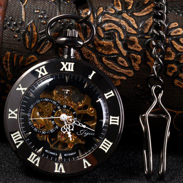 Jijia Hollow Out Mechanical Pocket Watch Chain Table - BLACK