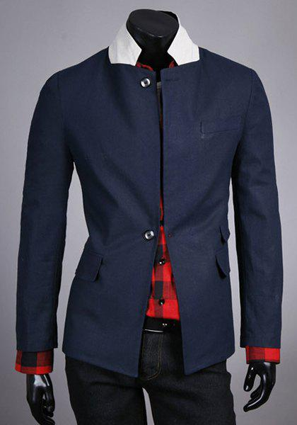 Slimming Stand Collar Trendy Color Block Splicing Long Sleeve Cotton Blend Men's Blazer - M CADETBLUE