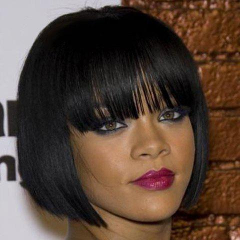 Noble Neat Bang Short Straight Natural Black Heat Resistant Synthetic Capless Bob Wig For Women - BLACK