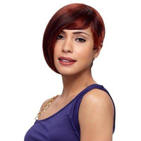 Heat Resistant Synthetic Vogue Dark Auburn Capless Short Side Bang Straight Wig For Women fashion side bang charming short straight dark brown mixed blonde heat resistant synthetic capless wig for women