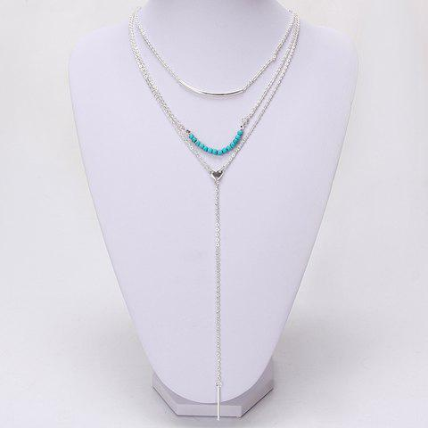 Trendy Turquoise Layered Bar Tassel Sweater Chain For Women -  SILVER