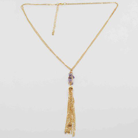 Delicate Chic Faux Crystal Tassel Sweater Chain Necklace For Women - PURPLE