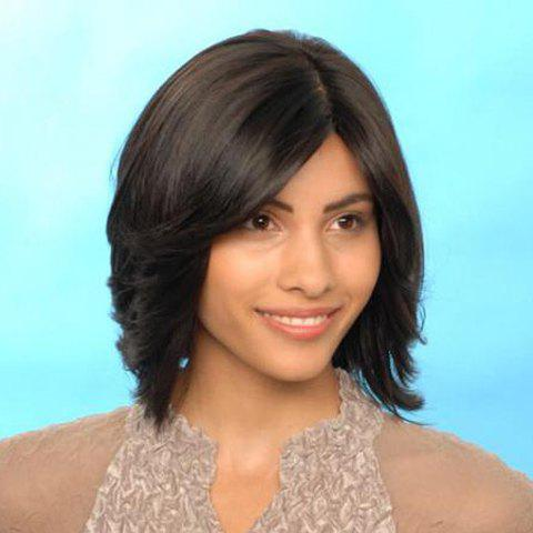 Fluffy Nobby Middle Part Natural Wave Medium Natural Black Capless Synthetic Wig For Women - BLACK