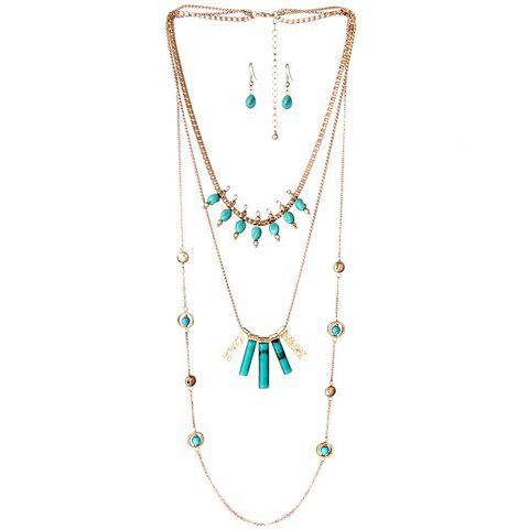 Bohemian Style Turquoise Bead Layered Necklace and A Pair of Earrings For Women