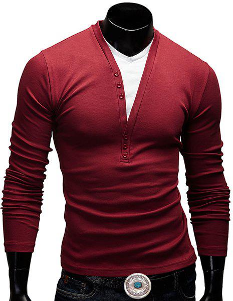Fitted V-Neck Fashion Faux Twinset Button Design Long Sleeve Polyester Men's T-Shirt