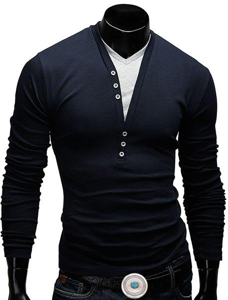 Fitted V-Neck Fashion Faux Twinset Button Design Long Sleeve Polyester Men's T-Shirt - CADETBLUE M