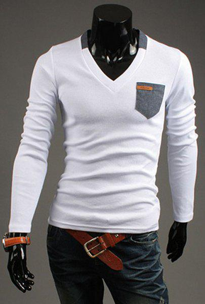 Slimming V-Neck Modish Contrast Color Pocket Labeling Long Sleeve Polyester Men's T-Shirt - WHITE M