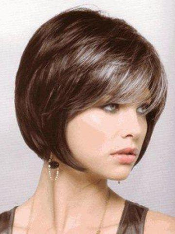 Graceful Side Bang Short Straight Capless Gray Ombre Deep Brown Synthetic Bob Wig For Women fashion charming ombre side bang long straight heat resistant synthetic cosplay wig for women