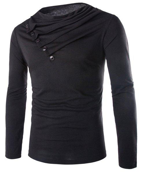 Slimming Cowl Neck Fashion Solid Color Button Design Long Sleeve Polyester Men's T-Shirt