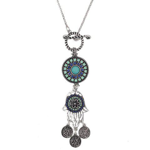 Vintage Hollow Out Hand Flower Necklace For Women - SILVER