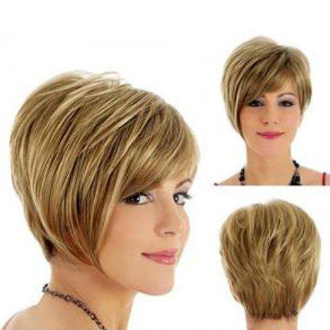 Spiffy Side Bang Straight Short Capless Gold Mixed Heat Resistant Synthetic Women's Wig fashion side bang charming short straight dark brown mixed blonde heat resistant synthetic capless wig for women