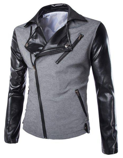 Slimming Turndown Collar Stylish Color Block PU Leather Splicing Long Sleeve Polyester Men's Jacket - DEEP GRAY XL
