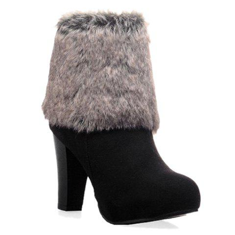 Gorgeous Faux Fur and Suede Design High Heel Boots For Women - BLACK 36