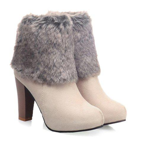 Gorgeous Faux Fur and Suede Design High Heel Boots For Women - OFF WHITE 39