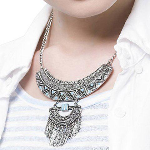 Ethnic Style Turquoise Round Triangle Engraved Tassel Necklace For Women - SILVER