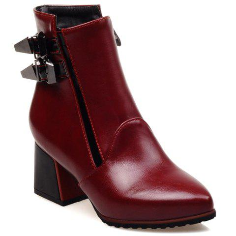 Trendy Colour Block and Double Buckle Design Boots For Women - RED 37
