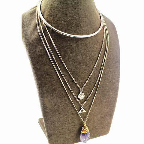 Chic Faux Crystal Triangle Love Layered Women's Necklace - GOLDEN