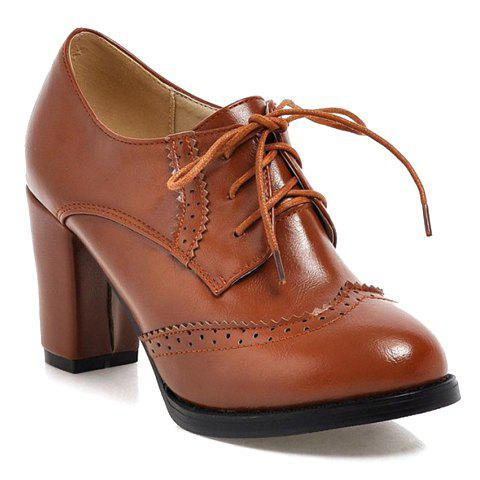 Vintage Engraving and Chunky Heel Design Pumps For Women