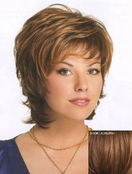 Charming Fluffy Inclined Bang Natural Wavy Human Hair Short Layered Capless Wig For Women - /