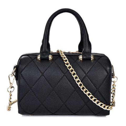Retro Checked and Chain Design Tote Bag For Women - BLACK