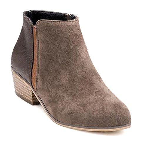 Simple Splicing and Chunky Heel Design Ankle Boots For Women - KHAKI 36