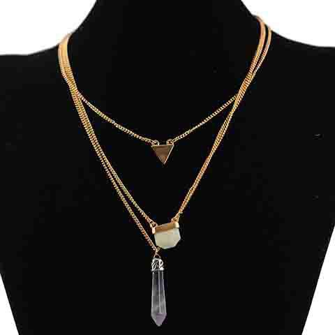Fashionable Exaggerate Layered Faux Crystal Necklace for Women - GOLDEN