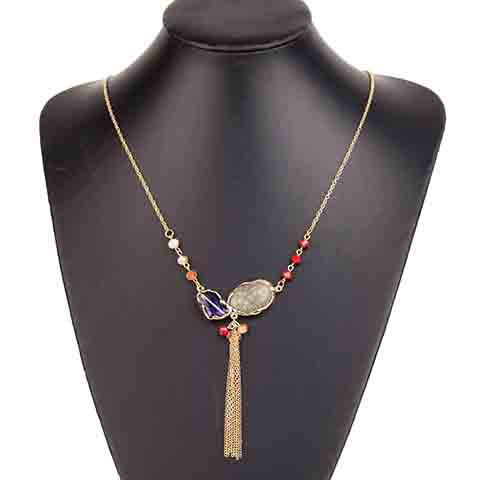 Stylish Chic Faux Gemstone Decorated Tassel Sweater Chain Necklace For Women