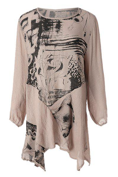 Abstract Print Loose-Fitting Stylish Scoop Collar Long Sleeve T-Shirt For Women - APRICOT ONE SIZE(FIT OUR SIZE)