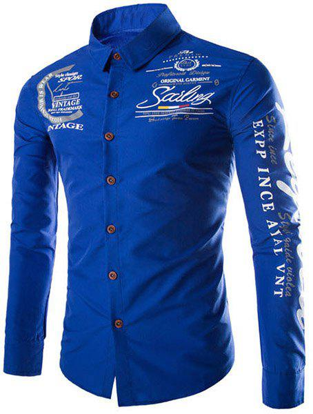 Slimming Shirt Collar Trendy Letter and Badge Print Long Sleeve Polyester Mens ShirtMen<br><br><br>Size: 2XL<br>Color: SAPPHIRE BLUE