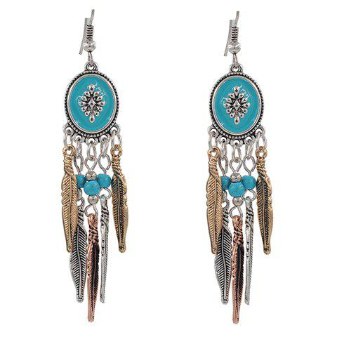 Feather Tassel Faux Turquoise Beads Earrings - GOLDEN