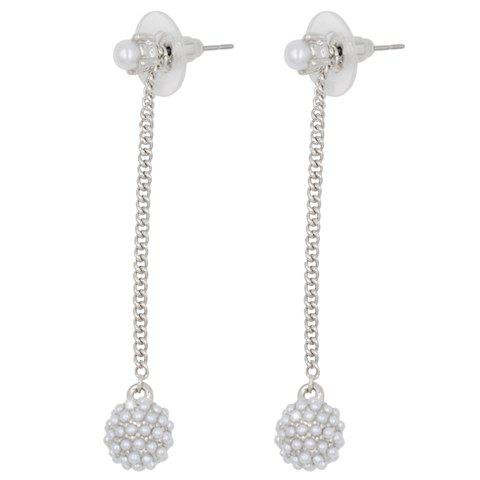 Pair of Graceful Faux Pearl Round Tassel Women's Earrings - SILVER