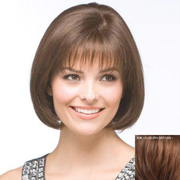 Bob Style Charming Full Bang Natural Straight 100 Percent Human Hair Capless Wig For Women -