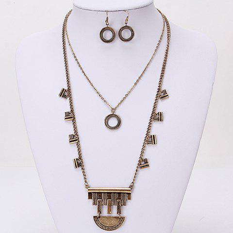 Delicate Chic Double-Layer Round Shape Necklace and A Pair of Earrings For Women - GOLDEN