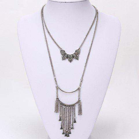 Fashionable Stylish Double-Layer Tassel Necklace For Women - SILVER