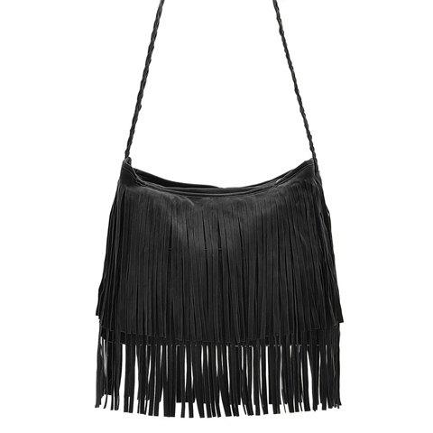 Stylish Weaving and Fringe Design Crossbody Bag For Women купить