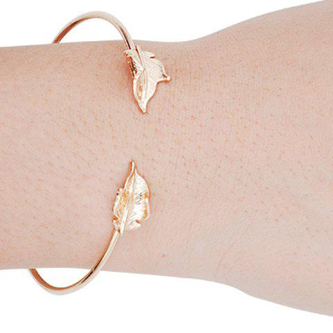 Trendy Solid Color Leaf Women's Cuff Bracelet - GOLDEN