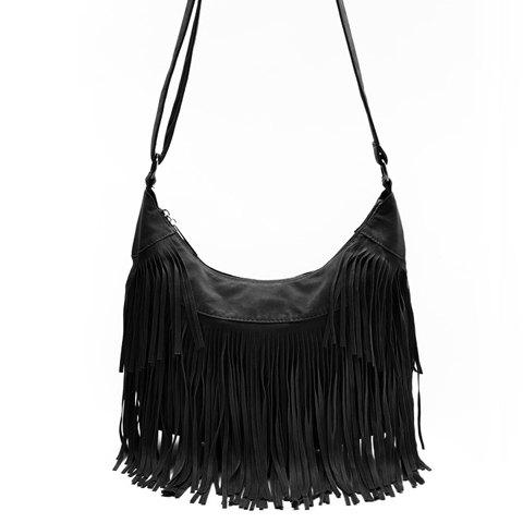 Stylish Suede and Fringe Design Crossbody Bag For Women - BLACK