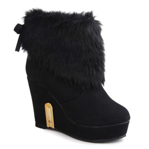 Stylish Faux Fur and Wedge Heel Design Ankle Boots For Women