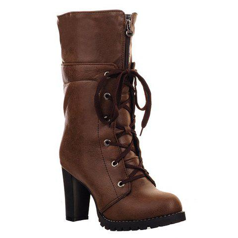 Trendy Lace-Up and Zipper Design Mid-Calf Boots For Women - DEEP BROWN 38