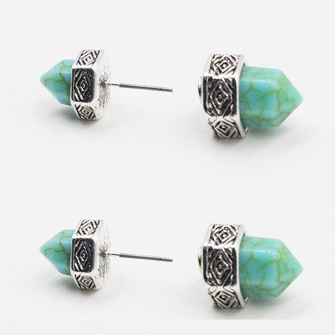 Pair of Vintage Turquoise Hexagonal Prism Shape Women's Earrings - SILVER